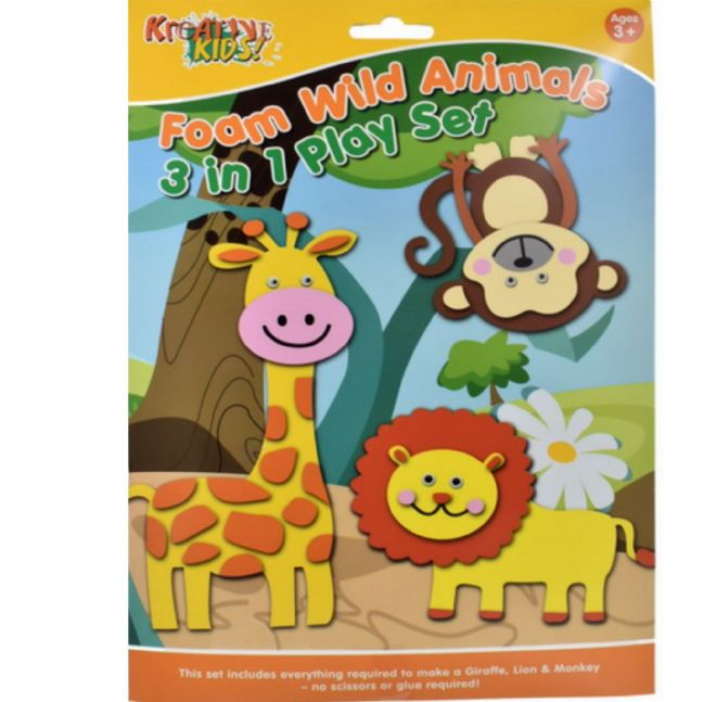 Wild  Animals Foam Creative Activity Play Set No Glue Required Lion